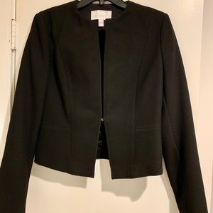 Boss cropped black blazer with gold hook closure